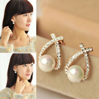 Elegant Women Girl Fashion Pearl Crystal Rhinestone Ear Stud Earrings Jewelry