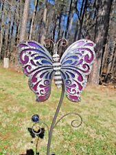 Butterfly Rustic Garden Stake Metal & Glass Yard & Garden decor