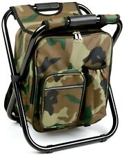 (Qty 3) Camouflage Portable Folding Camping Stool Backpack Cooler Chair Fishing