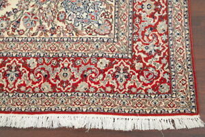 Vintage Masterpiece 900 Knots Wool/Silk Floral Ivory Nain Isfaahan Area Rug 7x11