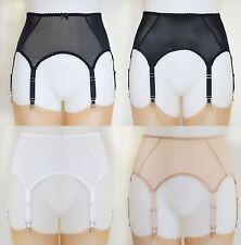 Retro Vintage Suspender Garter Belt Sheer Black White Nude Beige 6 Strap Basic