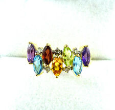 1.85ct Citrine,Amethyst,Garnet,Peridot,Topaz & Diamond 10k Yellow Gold Ring