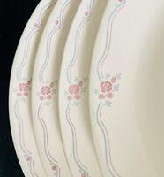 "4 Corning Corelle ENGLISH BREAKFAST Dinner 10-1/4"" Plates - Beige Pink Rose Blue"
