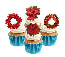 Poinsettia Christmas Collection 12 Edible Stand Up wafer paper cake toppers