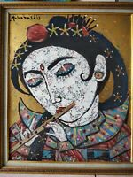 Mohammed Harahap Original painting Balinese girl fine art gold Ubud Bali art