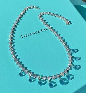 Tiffany & Co. Platinum, Diamond & Aquamarine Necklace, Blue Book Piece, MINT!!