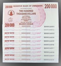 10 x Zimbabwe 200,000 (200000) dollar bearer cheque banknotes-aUNC currency