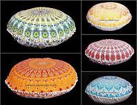 "Indian Decorative Mandala 32"" Round Pom Lace Floor Pillow Cotton Cushion Sham"