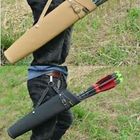 Hunting 52X13cm Arrow Quiver Bag Back Shoulder Waist Archery Pure Leather