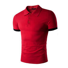 Luxury Men's Stylish Slim Fit T-shirt Short Sleeve Casual Polo Shirts Tee Tops a