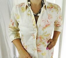 TOMMY HILFIGER WOMENS SHIRT FLORAL PRINT LINEN COTTON TAILORED 3/4 Sl Work Sz L