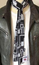 SUPERNOVA Black & White 60s Geometric Polyester Silky Long Skinny Mod Scarf