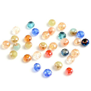 200pcs Electroplate Glass Beads Rondelle Faceted Loose Bead Colorful Craft 3x2mm