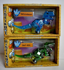 NEW Lot Of 2 ZING Stikbot MEGA DINO - Stik T REX BLUE & Stik Carnotaurus GREEN