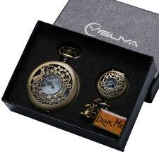 Vintage Drink Me Alice In Wonderland Pendant Pocket Watch Necklace Set+ Gift Box