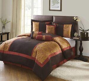 🛌 Nanshing Sibyl 7 Piece California KING Comforter Set Red/Brown
