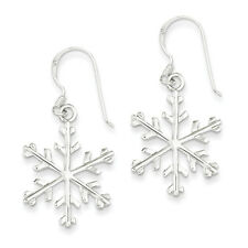 925 Sterling Silver Solid Polished Stamped Snowflake Dangle Earrings