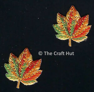 Sew or Iron On Craft Motif Patch Craft S&W 2 x Golden Autumn Leaves M136 New