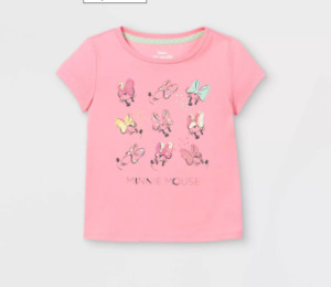 NWT Toddler Girls 2T Minnie Mouse Sequin Short Sleeve Graphic T-Shirt - Pink