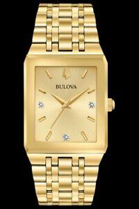 Bulova Quadra J-Quart Gold Dial Gold Stainless Steel Bracelet Men's Watch 97d120