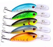 10cm 4inch Lot 5pcs Fishing Lures Floating CrankBait Bass Bait Rattles