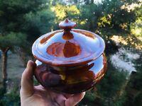 🔴 Potiche vaso in ceramica dipinta a mano color caramello
