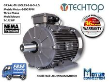 5.5 HP Electric Motor, METRIC, 3600 RPM, 3-Phase, Base, Aluminum