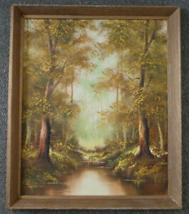 LANDSCAPE WITH FLOWING STREAM THROUGH THE FOREST. OIL PAINTING ON CANVAS.