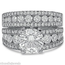 Diamonds Engagement Ring & Band Kr112 8Mm Round Cut Antique Style Moissanite W