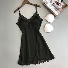 Women Sexy Lace Lingerie Silk Robe Dress Babydoll Nightdress Nightgown Sleepw  S