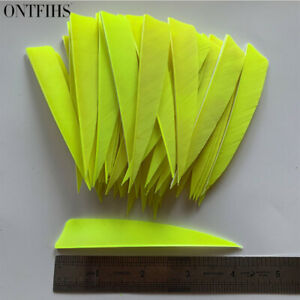 50PCS 4inch Fluorescent yellow Shield Fletches Fletching Vanes Feathers