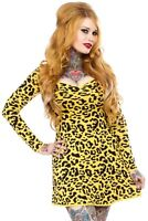 130638 Yellow Leopard Print Sweater Dress Sourpuss Punk Retro Pinup XL X-LARGE