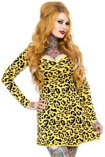 130638 Yellow Leopard Print Sweater Dress Sourpuss Punk Retro Pinup X-Large XL