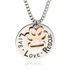 Live Love Rescue Paw Print Pendent Necklace Pet Animal Lover Memorial Gifts