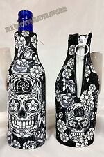 Sugar Skull Bottle Wrap Zip-Up Koozie Coozie Coolie Cooler Huggie #1045
