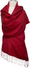 Pashmina Jacquard Schal Rot 70% Cashmere 30% Seide silk scarf red Stole Foulard