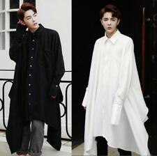 UK Mens Casual Shirts Loose Blouse Cloak Shawl Long Sleeve Coat Long Shirt Tops