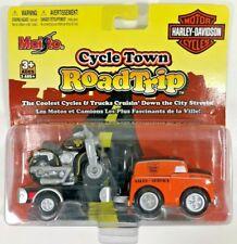 Harley-Davidson Cycle Town Road Trip Orange Panel Truck w/Cycle & Trailer
