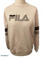 Mens Vintage FILA White Crew Neck Logo Sweater Sweatshirt  - Size XL