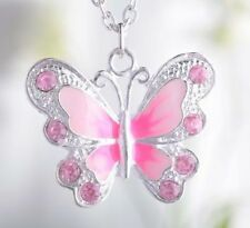 Silver Plated Enamel & Crystal Butterfly Pendant Necklace Bridesmaid Gift