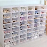 6~24PCS Foldable Shoe Box Storage Plastic Transparent Case Stackable Organize US