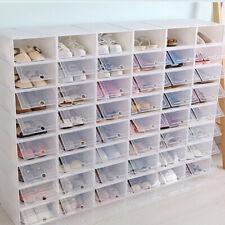 6~24PCS Foldable Shoe Box Storage Small Transparent Case Stackable Organize US
