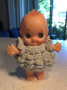 "Vintage Powder Shaker Kewpie Doll Plastic Molded Hair Crochet Dress 6"" x 4 1/2"""