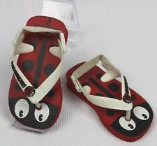 HAVAIANAS BABY Red & Black Ladybird Print Infant Girls Thongs Sz 19