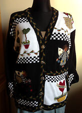 Angels & Hearts THE QUACKER FACTORY Cardigan Black White Theme Sweater S New HTF
