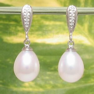 14k White Gold Sets 6 Sparkling Diamonds; White / Pink Pearl Dangle Earrings TPJ