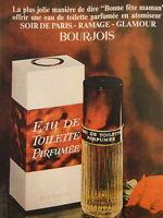 PUBLICITÉ BOURJOIS EAU DE TOILETTE PARFUMEE - ANNEE 60