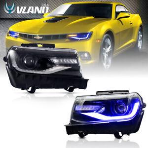 VLAND RGB LED Headlights For Chevy Camaro 2014 2015  LS LT SS Model Assembly