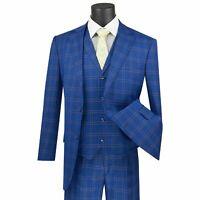 VINCI Men's Blue Glen Plaid Check 3 Piece 2 Button Classic Fit Suit NEW