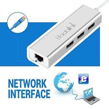 3 Port USB 3.0 Hub mit Gigabit Ethernet Netzwerkadapter Lan RJ45 Adapter Neu